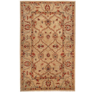 Herat Oriental Afghan Hand-knotted Vegetable Dye Oushak Wool Rug (4' x 6'3)