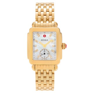 Michele Women's Goldplated MWW06V000004 'Deco 16' Mother of Pearl Diamond Accent Link Watch