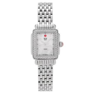 Michele Women's 'Deco Mini' MWW06D000012 Stainless Steel 3/8 CT TDW Diamond Link Watch