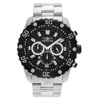 Invicta Men's 'Pro Diver' 22516 Stainless Steel Chronograph Link Watch - Silver