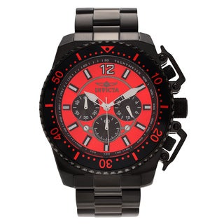 Invicta Men's 21958 'Pro Diver' Black Stainless Steel Chronograph Bracelet Watch