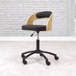 Offex Home Indoor Adjustable Seat Height Ashwood Chair with Caster - Black