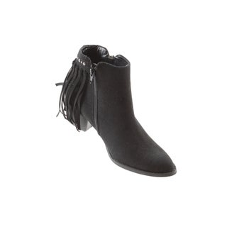 Hadari Women's Casual Side Zip Block Heel Fringe Black Ankle Bootie