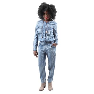 Hadari Women's Casual Sexy Long Sleeve Button Down Denim Jumpsuit