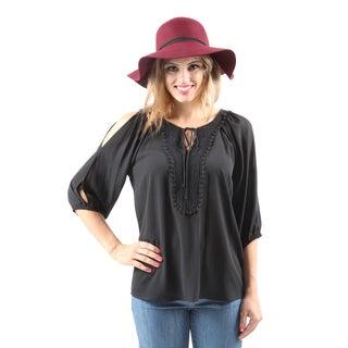 Hadari Women's Casual Women's Casual Sexy Split Sleeve Black Crochet Blouse