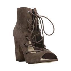 Women's Fergie Footwear Riviera Open-Toe Lace-Up Bootie Dark Doe Suede