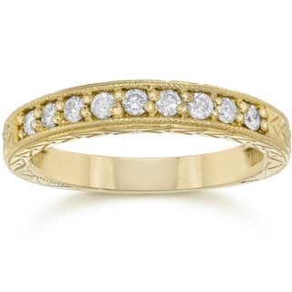 14K Yellow Gold 1/4 ct TDW Diamond Vintage Anniversary Wedding Stackable Ring
