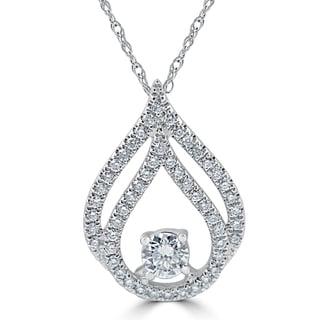 18k White Gold 1/2 ct TDW Diamond Double Halo Solitaire Pendant (G-H,VS2-SI1)