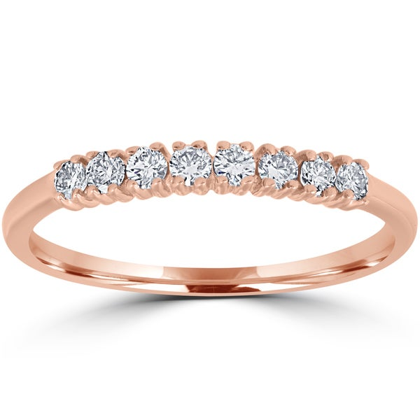 14K Rose Gold 1/5 ct TDW Diamond Ring Womens Stackable Wedding Anniversary Band - White. Opens flyout.