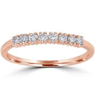 14K Rose Gold 1/5 ct TDW Diamond Ring Womens Stackable Wedding Anniversary Band (I-J, I2-I3)