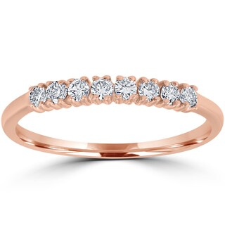 14K Rose Gold 1/5 ct TDW Diamond Ring Womens Stackable Wedding Anniversary Band