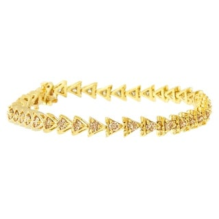 Yellow Gold-Plated Sterling Silver 3.00Ct Twd Round-Cut Diamond Bracelet (J-K, Si2-I1)