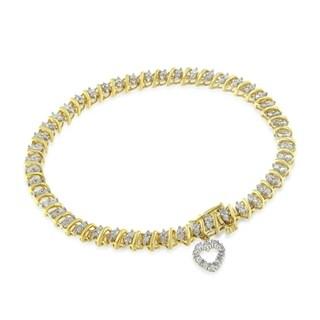 Yellow Gold-Plated Sterling Silver 2ct TDW Diamond Heart Charm Bracelet (I-J, I3-Promo)