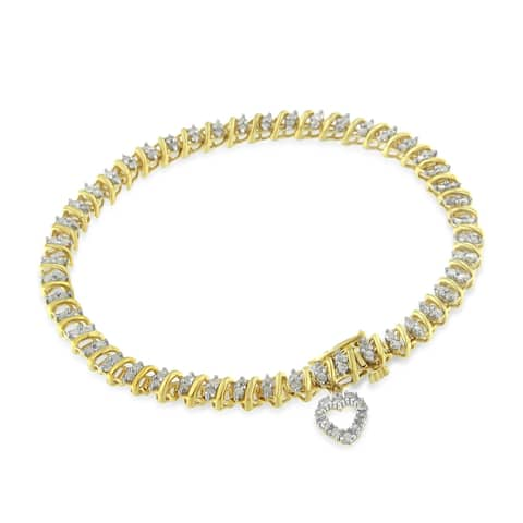 Yellow Gold-Plated Sterling Silver 2ct TDW Diamond Heart Charm Bracelet (I-J, I3-Promo)