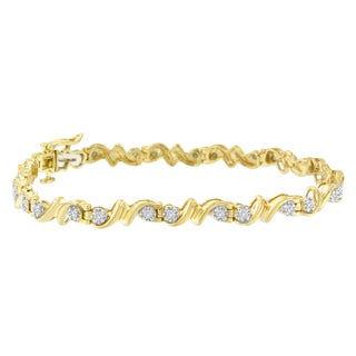 Yellow Plated Sterling Silver .5ct TDW Diamond Spiral Link Bracelet (H-I, I3)