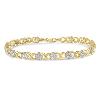 Yellow Goldplated Sterling Silver 1ct TDW Diamond Floral Cluster Link Bracelet