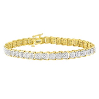 Yellow Goldplated Sterling Silver 2ct TDW Diamond Tennis Bracelet (H-I, I3)
