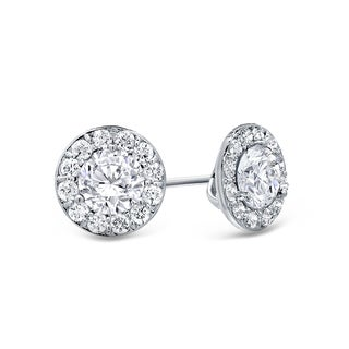 Auriya 14k Gold 1/2ct TDW Round Cut Diamond Halo Stud Earrings