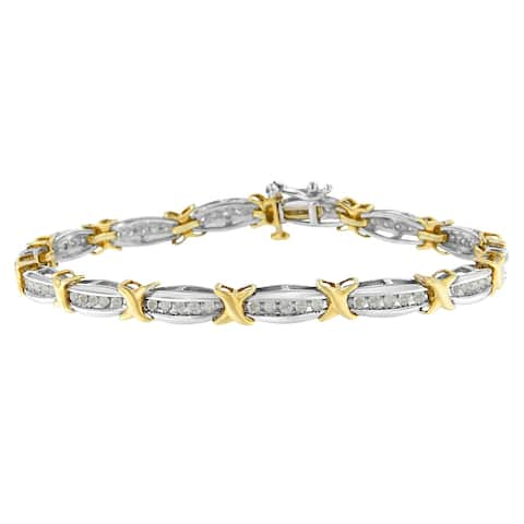 Two-Tone Gold Plated Sterling Silver 1ct TDW Round-cut Diamond X-Link Bracelet (I-J, I2-I3)