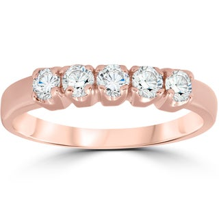 14K Rose Gold 1/2CT TDW 5-Stone Diamond Wedding Ring