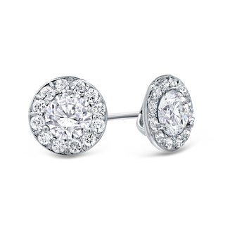 Auriya 14k Gold 1ct TDW Round Cut Diamond Halo Stud Earrings