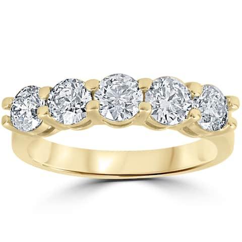 14K Yellow Gold 2 ct TDW Round Cut Diamond Five Stone Wedding Anniversary Womens Ring - White