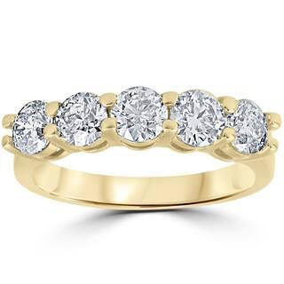 14K Yellow Gold 2 ct TDW Round Cut Diamond Five Stone Wedding Anniversary Womens Ring https://ak1.ostkcdn.com/images/products/13516533/P20199030.jpg?impolicy=medium