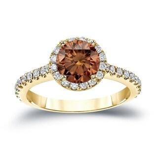 Auriya 14k Gold 1 1/3ct TDW Round Cut Brown Diamond Halo Engagement Ring (Brown, SI2-SI3)