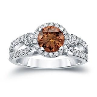 Auriya 14k Gold 1ct TDW Round Cut Brown Diamond Halo Engagement Ring (Brown, SI2-SI3)
