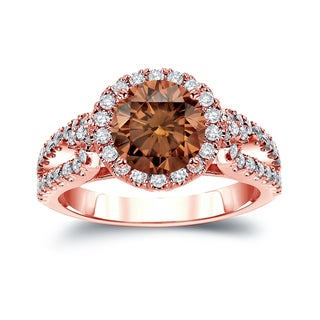 Auriya 14k Gold 2 1/3ct TDW Round Cut Brown Diamond Halo Engagement Ring (Brown, SI2-SI3)