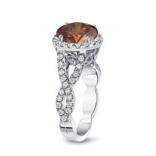 Auriya 14k Gold 2 3/4ct TDW Round Cut Brown Diamond Halo Engagement Ring (Brown, SI2-SI3)