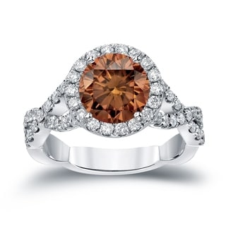 Auriya 14k Gold 2 3/4ct TDW Round Cut Brown Diamond Halo Engagement Ring (Brown, SI2-SI3)