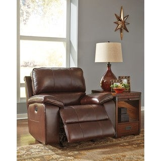 Signature Design by Ashley Transister Coffee Power Rocker Reclining with Adjustable Headrest