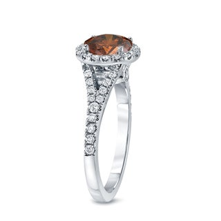 Auriya 14k Gold 2ct TDW Round Cut Brown Diamond Halo Engagement Ring (Brown, SI2-SI3)