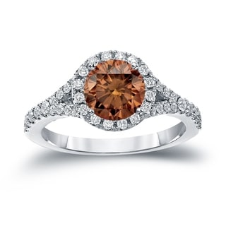 Auriya 14k Gold 2ct TDW Round Cut Brown Diamond Halo Engagement Ring (Brown, SI2-SI3)