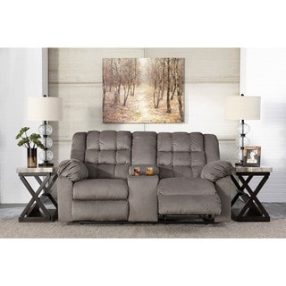 Signature Design by Ashley Mort Charcoal Reclining Loveseat with Console