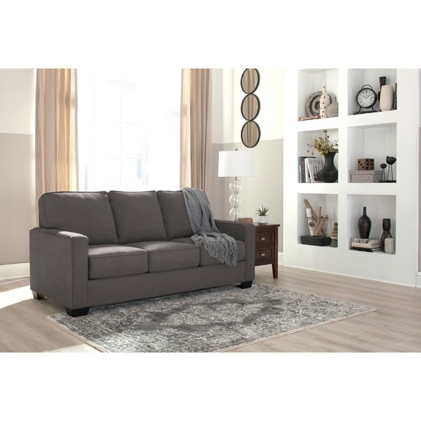 signature design by ashley zeb charcoal full sofa sleeper free
