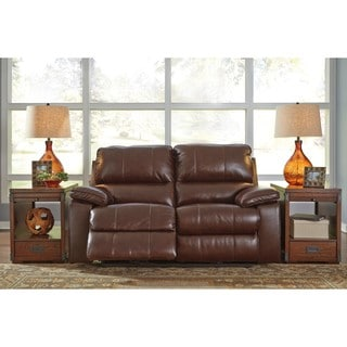 Signature Design by Ashley Transister Coffee Power Reclining Loveseat with Adjustable Headrest