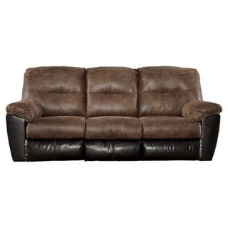 signature design by ashley follett coffee reclining sofa - Ashley Leather Sofa