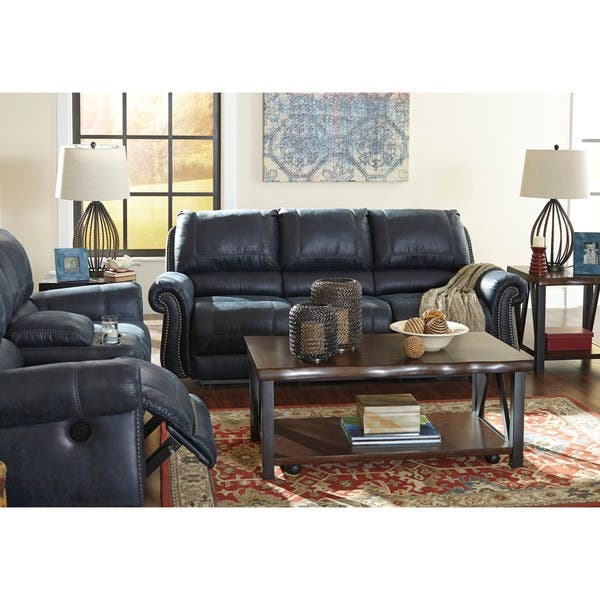 Cool Shop Signature Design By Ashley Milhaven Navy Reclining Sofa Ibusinesslaw Wood Chair Design Ideas Ibusinesslaworg