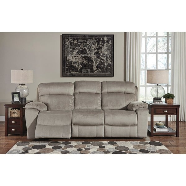 Signature Design By Ashley Uhland Granite Power Reclining Sofa With  Adjustable Headrest