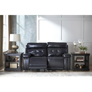 Signature Design by Ashley Graford Navy Power Reclining Loveseat with Adjustable Headrest
