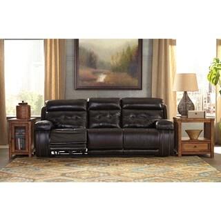 Signature Design by Ashley Graford Walnut Power Reclining Sofa with Adjustable Headrest