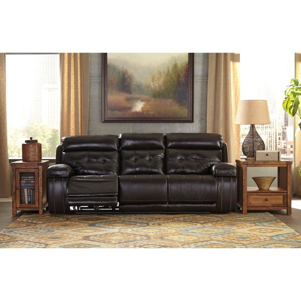 Signature Design By Ashley Graford Walnut Power Reclining Sofa With  Adjustable Headrest