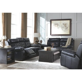 Signature Design by Ashley Graford Navy Power Reclining Sofa with Adjustable Headrest