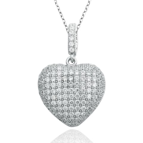 Suzy Levian White Cubic Zirconia Sterling Silver Pave Heart Pendant