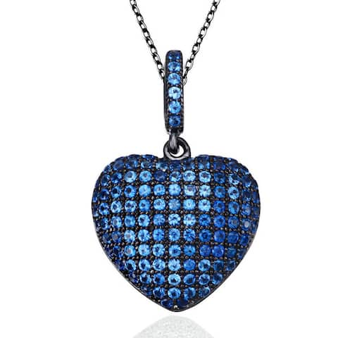 Suzy Levian Blue Cubic Zirconia Blackened Sterling Silver Pave Heart Pendant