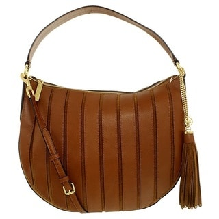 Michael Kors Suede Large Dark Caramel Convertible Hobo Handbag