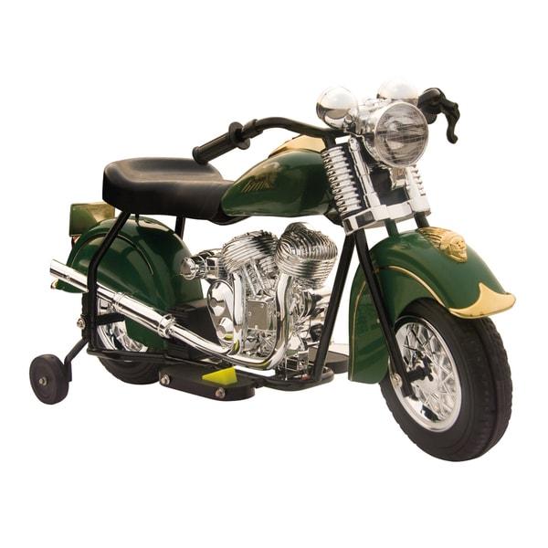 Little Vintage Indian Ride On 6V Green Motorcycle