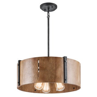 Kichler Lighting Elbur Collection 3-light Distressed Black Pendant/Semi Flush Mount
